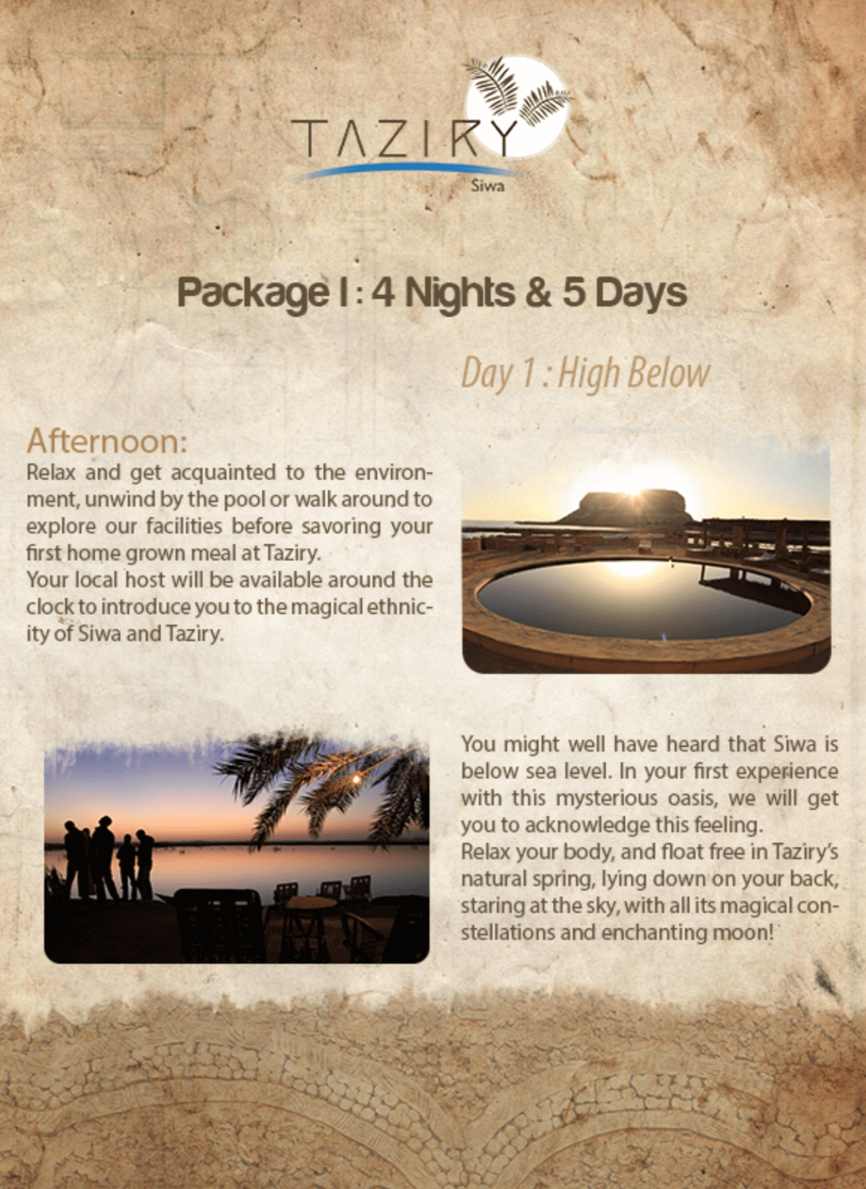 Taziry Ecolodge Activities (4 Nights Program)