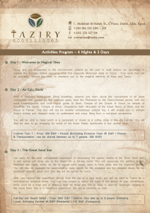 Taziry activities program 4 nights 5 days