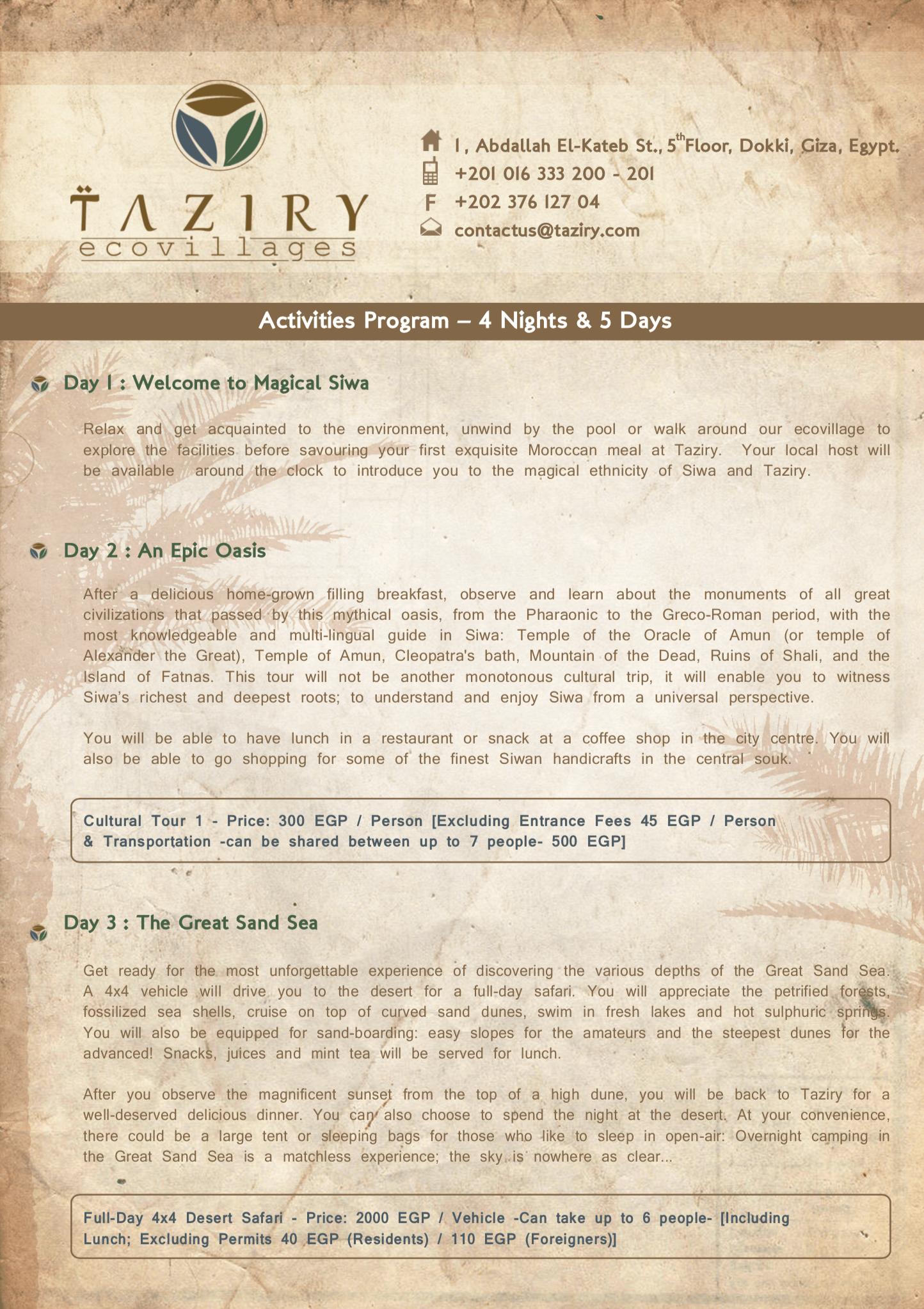 Taziry activities program 4 nights 5 days